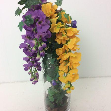 Cilinderglas met Gele en Lila Bloesem