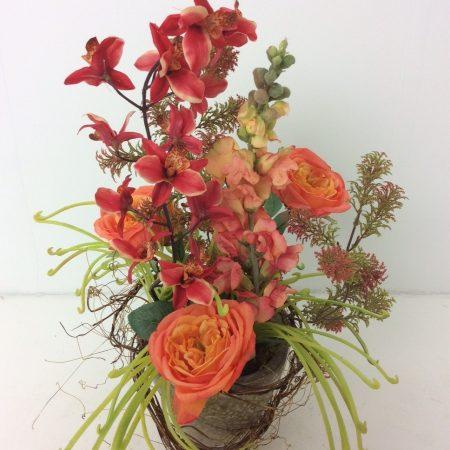 Zijdestuk met Orchidee en Rozen